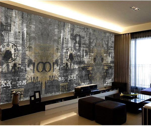 Retro nostalgic English coffee bar counter KTV wall paper pluxury creative artistic graffiti nostalgia large mural wall paper