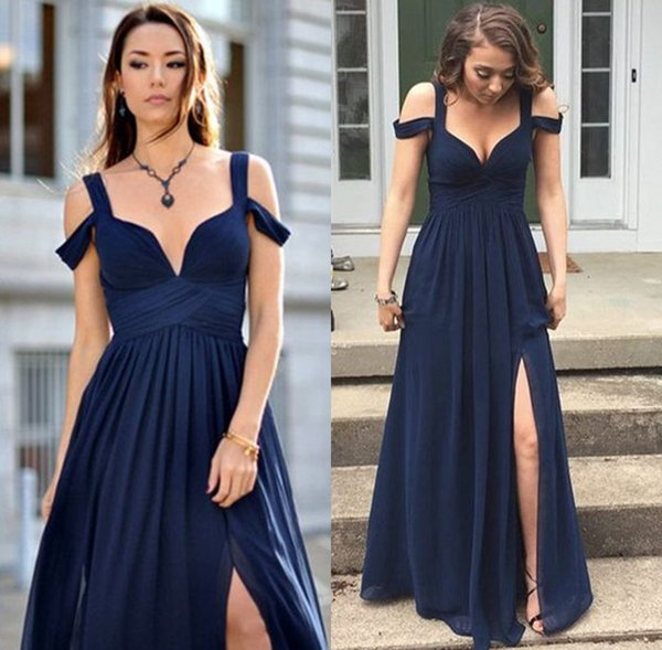 068940a363 Navy Blue 2018 A Line Prom Dresses Plunging Neckline Chiffon Sleeveless  Prom Gowns Floor Length Custom