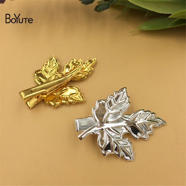 BoYuTe 20Pcs 30*40MM Maple Leaf Hairpin Metal Iron Diy Hair Jewelry Accessories Parts Jewelry Findings & Components