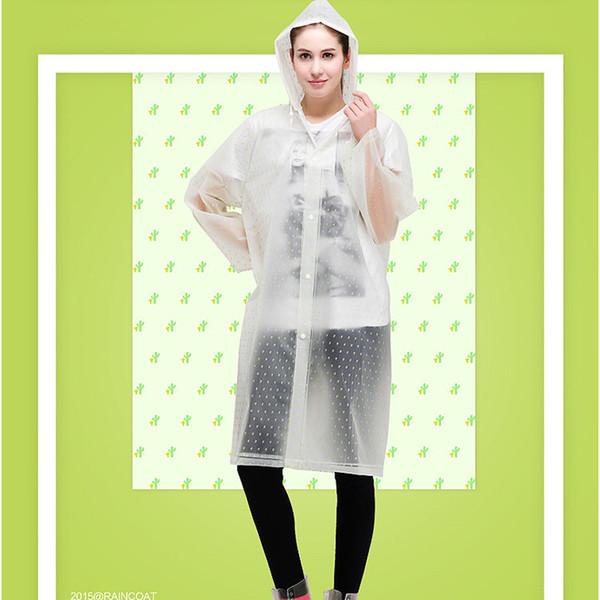 Fashion Women's Transparent Eva Plastic Lady Girls Raincoat Travel Waterproof Rainwear Adult Poncho Outdoor Rain Coat