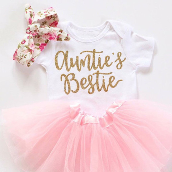 Newborn Infant Baby Girls Clothes 3pcs Auntie is Bestie Bodysuit + Tutu Skirt + Headband Kids Clothing Set