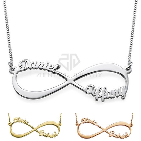 Infinity Style Deux Nom Collier Personnalisé En Acier Inoxydable Personnalisé Plaque signalétique Pendentif Cadeau Bijoux pour femmes