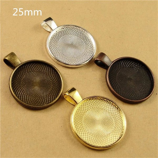 best selling Vintage Cabochon Settings 25mm Inner Zinc Alloy Cameo Cabochon Base Setting SP208