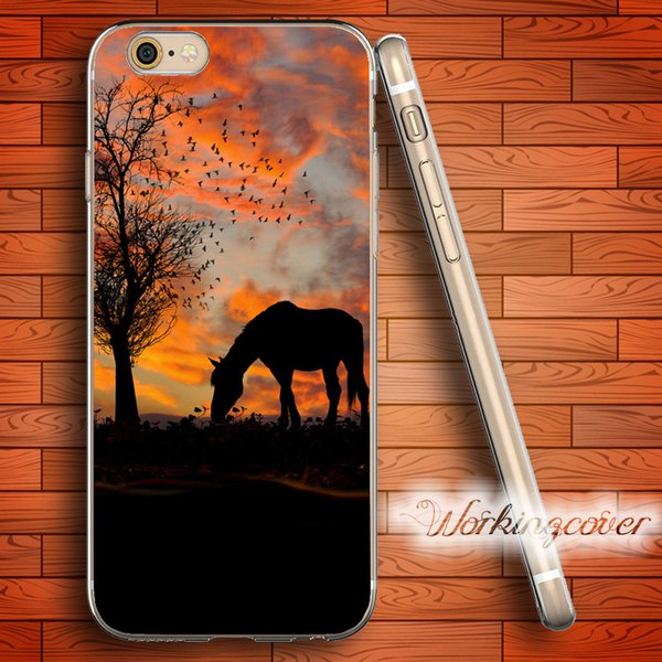Fundas Luxury Horse Soft Clear TPU Case for iPhone 7 6 6S Plus 5S SE 5 5C 4S 4 Case Silicone Cover.