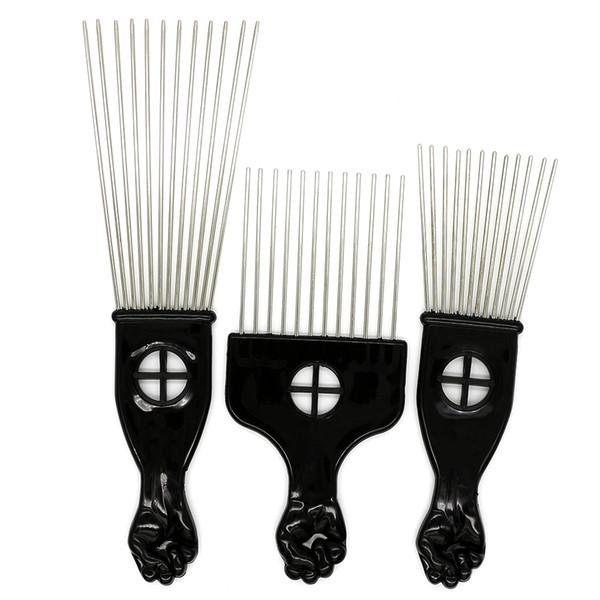 Black Plast Puño Mango Afro Cepillo Acero Stianless Dientes anchos Metal Pelo Selección Afro Peine Con Puño