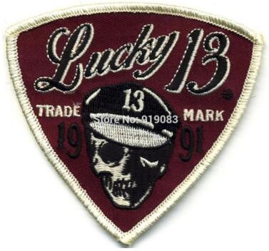 Lucky 13 Patch Badge Sleeve Motorcycle Skull Logo Hot Rod Drag race Tattoo Halloween MC Biker Vest Jacket back chest transfer party favor
