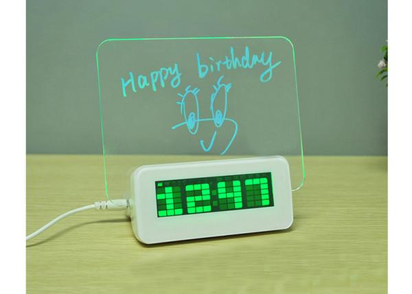 Alarma Reloj Luz USB Hub De De LED Temperatura Digital Mensajes Temporizador Despertador Alarma De Calendario Despertador Lámpara Escritorio Compre HIE29D