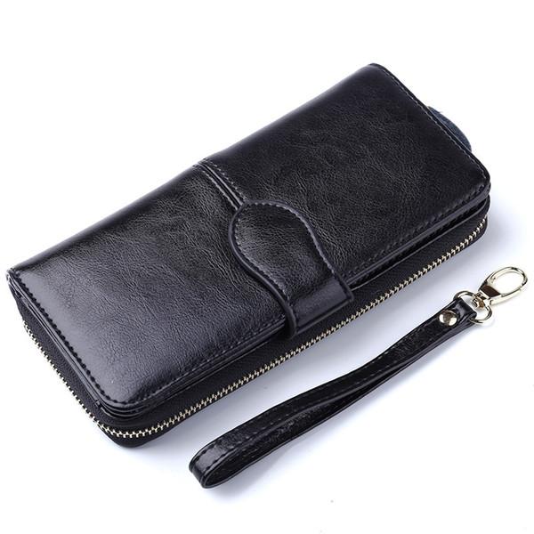 2017 Bestseller! Lange Frauen Business Echtleder Geldbörse Handy iPhone 6 Plus Inhaber Clutch Bag Bifold Rindsleder Geldbörse