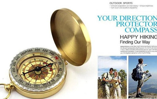 Delicate Brass Pocket Watch Style Outdoor Camping Compass wholesale Golden Classic Antique ZNZ01 DHL FEDEX Free shipping