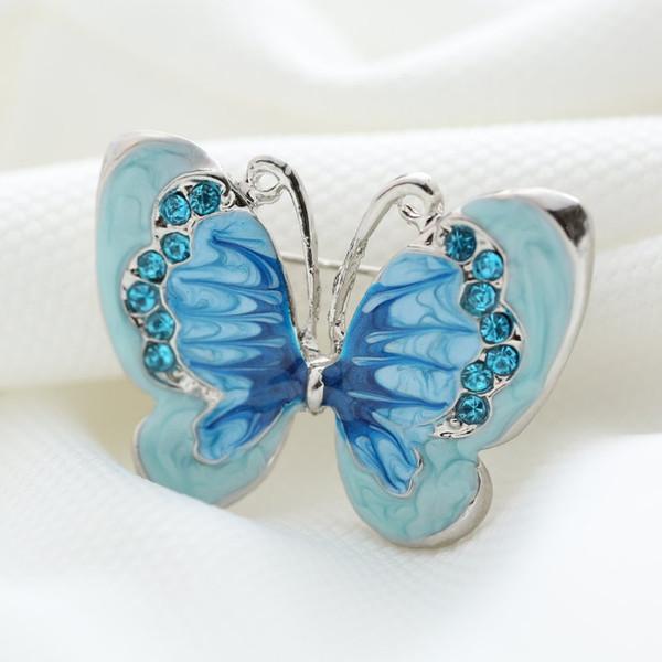 Toptan-Güzel bule Kelebek Küçük Böcek Broş Pins Gümüş Kaplama Kristal Broş Kadınlar Dekorasyon Takı Giysi Aksesuarları