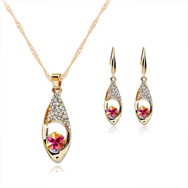 Crystal Diamond Angel Tears Drop Collana Orecchini Imposta collana a catena in oro per le donne Gioielli moda sposa