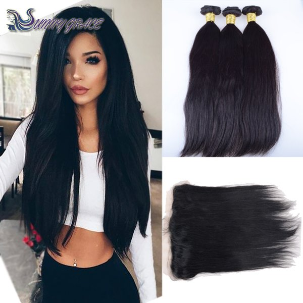 3pcs human hair bundles with lace closure 13x4 silky Straight Virgin Hair Weaves Extensions With Lace Frontal Closure 1pcs malaysian hair