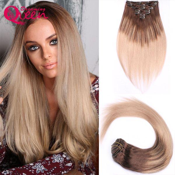 Клип в прямые наращивание волос 100% бразильский девственные человеческие волосы 7 шт./компл. 16 клипов 4/18 фортепиано смешанный цвет клип в человеческих волос