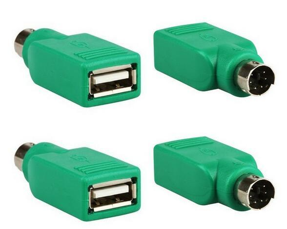 Hot 1000pcs USB Universal Mouse Mice Keyboard Type A Female to PS2 PS/2 6pin mini din Male Adapter Converter Adaptor Computer Cables Green