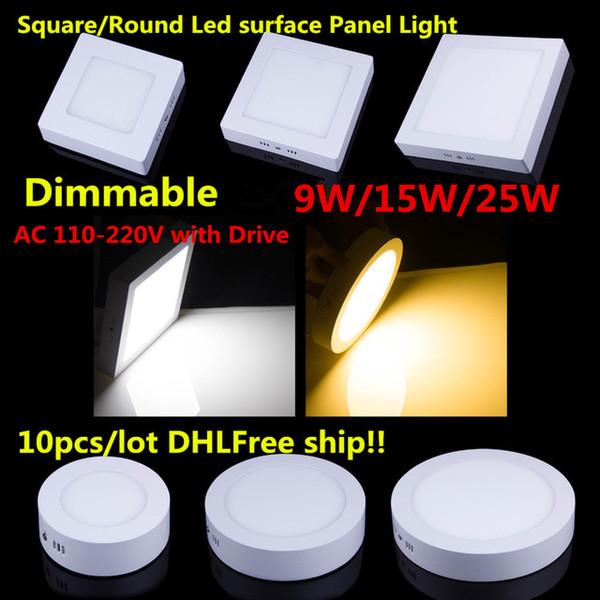 Vente en gros - 9W 15W 25W ronde / carré Dimmable LED plafond monté plafonnier SMD 2835 panneau lumineux pour la maison BathRoom éclairage de la cuisine