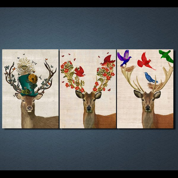 3 Pcs/Set Framed HD Printed Deer Elk Nordic Modern Canvas Painting On The Wall Art Modular Pictures Home Decor Poster