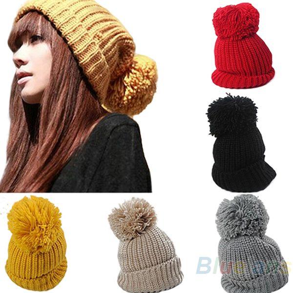 2016 Hight Quality Women's Winter Slouch Knit Cap Warm Oversized Cuffed Beanie Crochet Bobble Beanies knitting wool Hat 8NCM