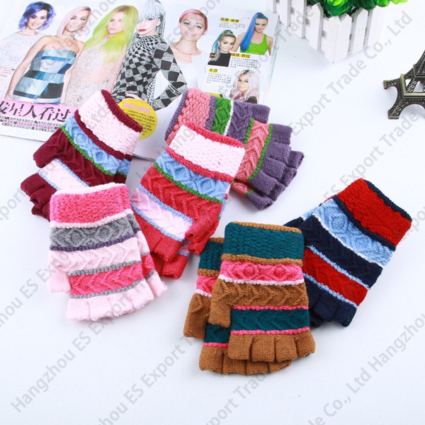 Зимние взрослые вязаные перчатки красочные полосы трикотажные перчатки без пальцев 6 цветов можно подобрать цвета дешевые оптовые перчатки