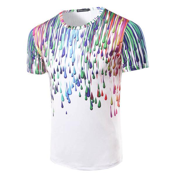 men tshirt raindrops water drops paint ink effect round neck 3D short sleeve T shirt fashion clothing