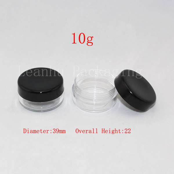 10g round empty plastic clear jar with black lid, 1/3 oz plastic containers for cosmetic packaging ,DIY sample cream bottles