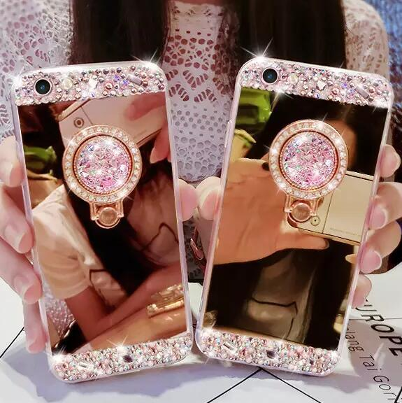 Handyhüllen Selbst Gestalten Luxus Diamant Spiegel Ring Telefon Case Für Iphone 7 8 Plus 6 6 Plus Bling Glitter Bilden Fällen Mit 360 Umdrehung Ring