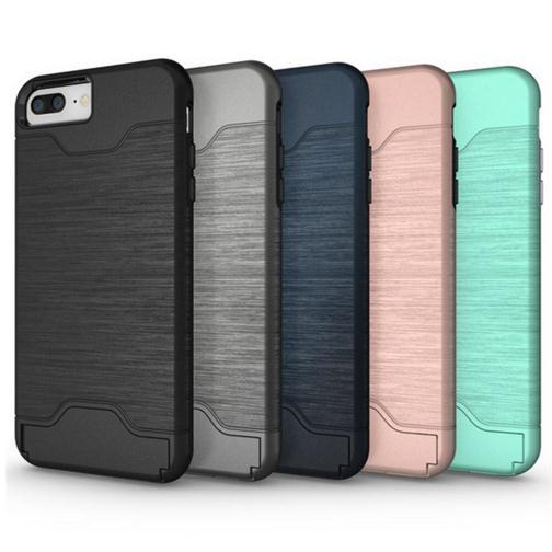Custodia per iPhone 7 Custodia rigida per Samsung Galaxy S6 7 Edge Hybrid Custodia Cover per iphone 7 plus Con supporto per scheda Accessori per telefoni cellulari