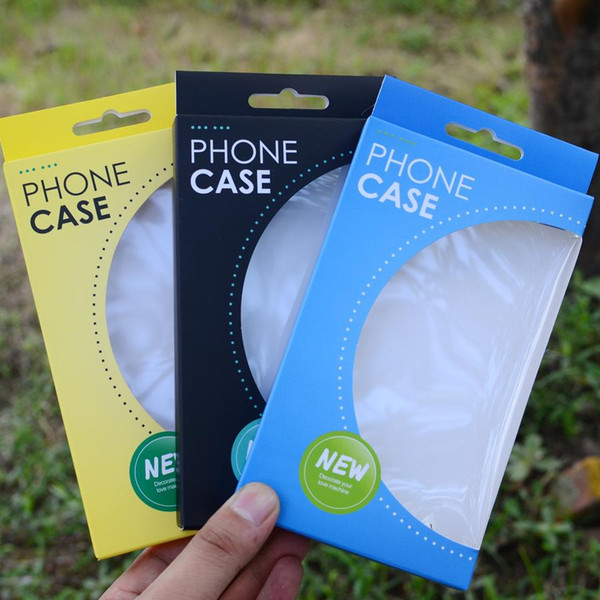 DHL 180Pcs/ Lot 10*17*1.5cm Cardboard Paper Clear Window Cell Phone Case Package Box iPhone 7/7plus Phone Shell W/ Hang Hole Box