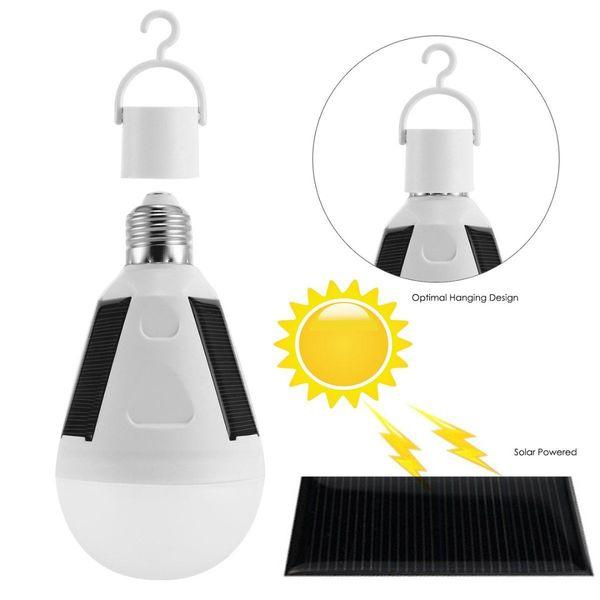 top popular 7W 12W Hanging Solar Energy Rechargeable Emergency LED Light Bulb Daylight 6500K E27 IP65 Waterproof Solar Panels Powered Night Lamp 2019