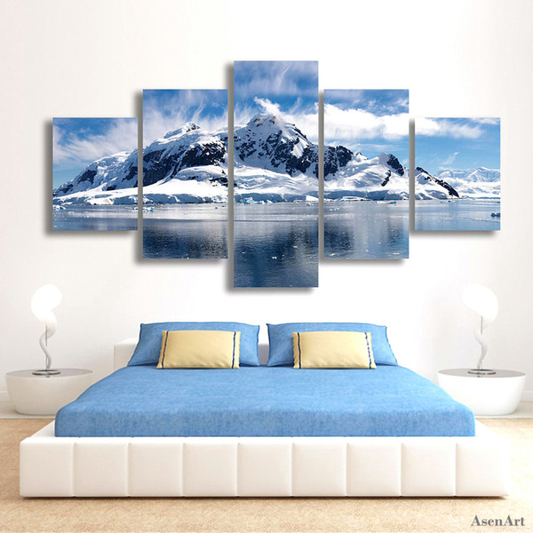 Framed HD Printed Snow Mountain Landscape Painting Canvas 5 Panel Printed on High Quality Canvas,Home Wall Decor size can be customized