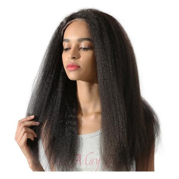 High quality full lace wig 1b kinky straight brazilian virgin human hair lace front wig for black women free shipping