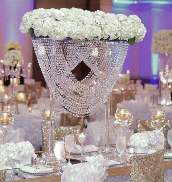 """3pcs/lot 27.5"""" and 31.5"""" tall oval crystal acrylic beaded wedding centerpieces flower stand table decor for wedding event party decoration"""