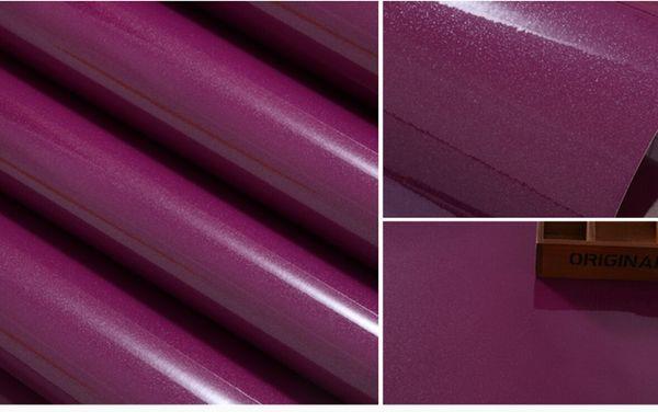 Purple Color Paint DIY Wallpaper Pearl Furniture Renovation Stickers Cabinets Wardrobe Solid Waterproof