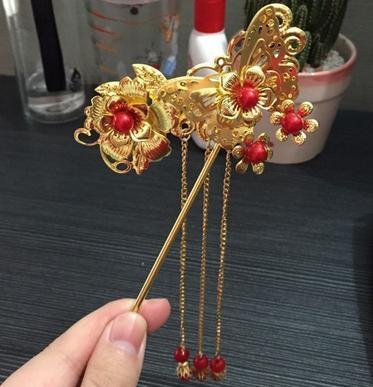 Beautiful Bride ancient costume hair ornaments tassel hairpin red classical Chinese headdress TX1003