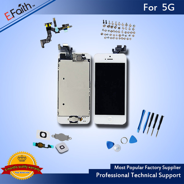 White Glass Touch Screen Digitizer LCD Assembly Replacement For iPhone 5 5G with Home Button + Camera & Free shipping