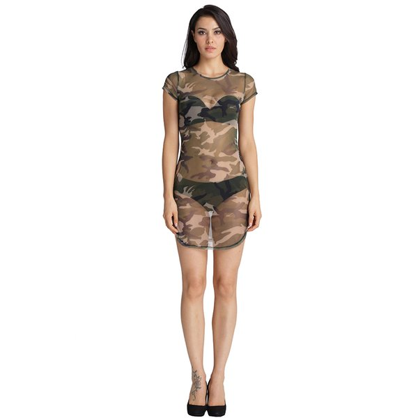 Dark Blue Garment New Women Summer Sexy visible T Shirt Mini Dress Ladies Camouflage Casual Night Club Party Bodycon Short Dresses