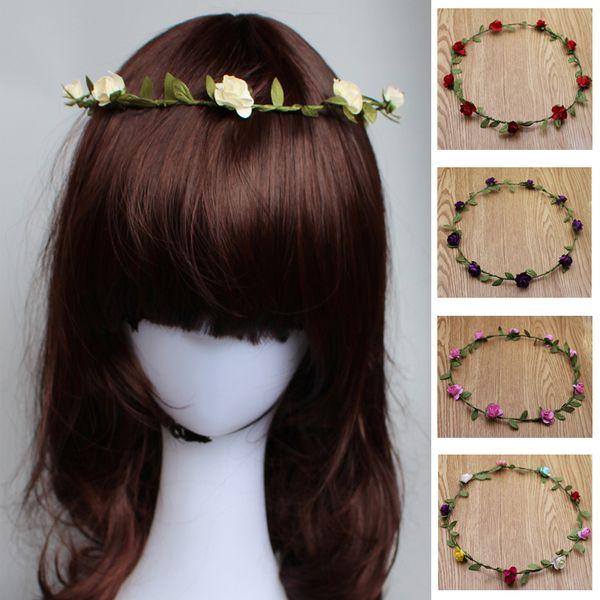 Women and Children Artificial Flower Hairbands Paper Garlands Rose Florals Wreath Bride Hair Accessories For Wedding Wear