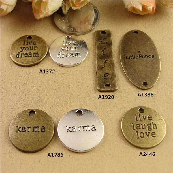 DIY jewelry accessories wholesale square plate English retro letter connector word charm Live your dream laugh love life karma little prince