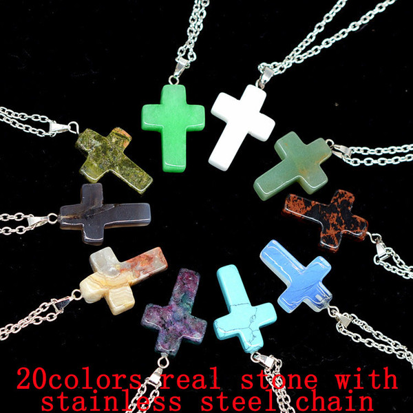 Cross Natural Stone Chain Necklaces