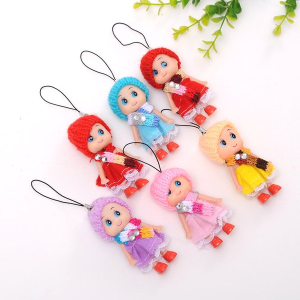 500Pcs/lot Newest Korea Kids Baby Diomand Scarf Doll toy keychains plush ball doll For Girls Key Ring Greative bag chain