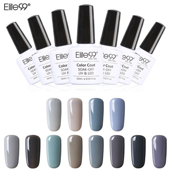 Wholesale-Elite99 New Style 1pcs Nail Gel Polish Soak Off Gel 10ml Long Lasting UV Gel Colorful Polishes Nair Art 12 Gray Colors Choose