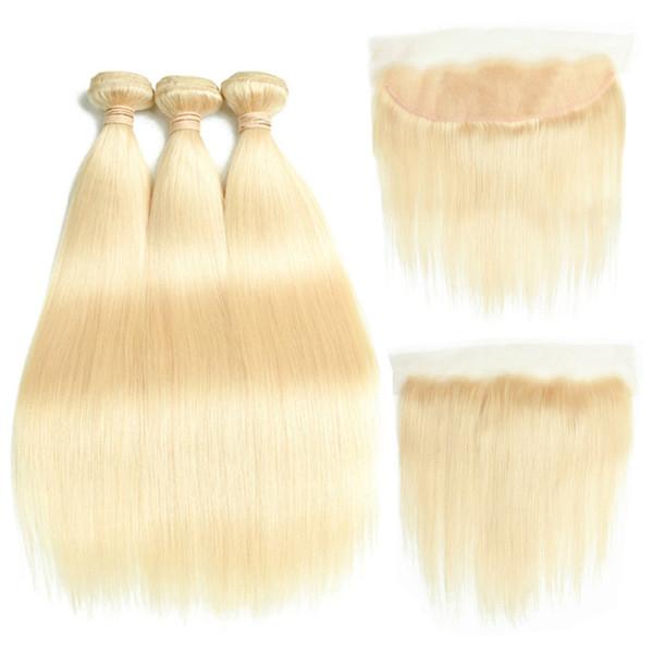 8a Бразильские волосы девственницы # 613 Светлые 3 пучка с фронтальной застежкой Верхняя часть кружева Лобная и пучки Шелковые прямые пряди волос и Лобная часть