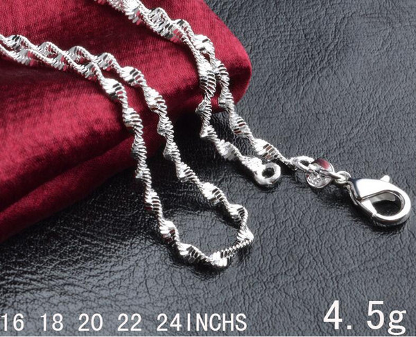 Man woman Necklace 925 sterling Silver 2MM double Water Chain Necklace 16inch/18inch/20inch/22inch/24inch for Pendants