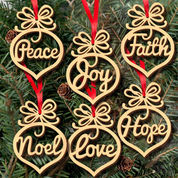 Christmas letter wood Heart Bubble pattern Ornament Christmas Tree Decorations Home Festival Ornaments Hanging Gift, 6pc per bag