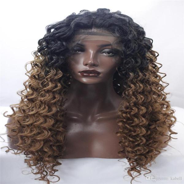 Perucas da parte dianteira do laço bela nova mulher com uma longa peruca loira negra cor misturada cabelo Encaracolado moda Africano Americano peruca itens populares kabell