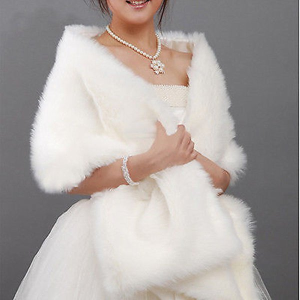 top popular Ivory White black Faux Fur Jacket Wrap Shrug Bolero Accessories Bridal Shawl Cape Bridal Wedding 2018 2021