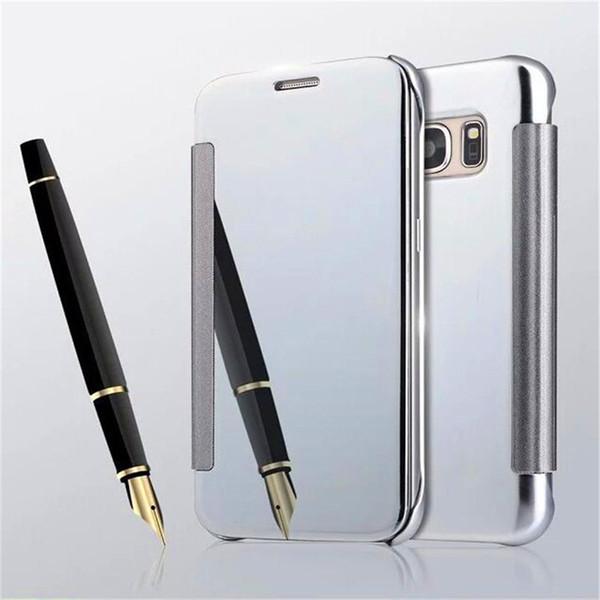 Pour iPhone x 8 7 plus placage étui à miroir chrome Flip Portefeuille étui en cuir Clear Window View Cover Pour Samsung note 8 s8 s8 plus s7 s6