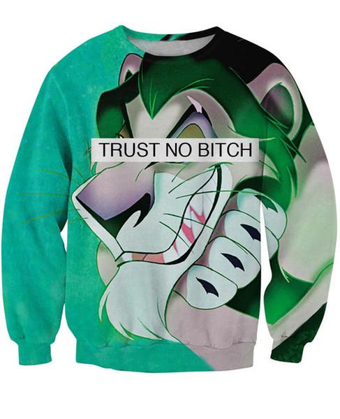 Wholesale-Trust No Bitch Scar Sweatshirt King Lion 3D Print Sweats Women Men Fashion Clothing Outfits Tops Outerwear Hooides Jumper