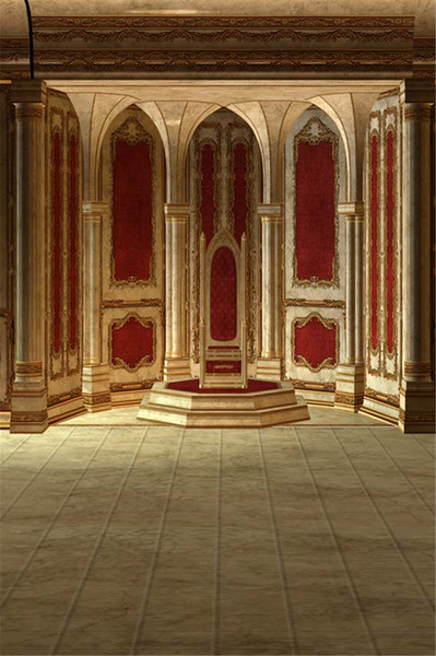 Indoor Palace Photography Backdrop Red Wall Luxury Gold Mosaic Pillars Wedding Stage Photo Shoot Background Vintage