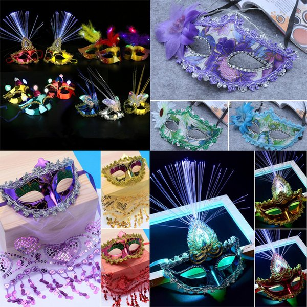 Fashion Colorful LED Light Up Mask Women Girls Sexy Veil Masks Masquerade Masks Halloween Party Supplies