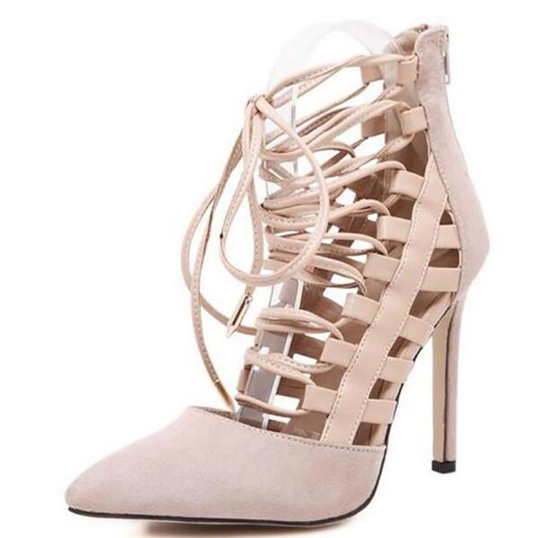 2017 Nuevas Mujeres de la Llegada Bombas Hollow Cross Lacing Roman Zapatos de tacón alto 11 cm Altura Tacón Damas Sexy Stiletto Punta estrecha Zapatos de mujer